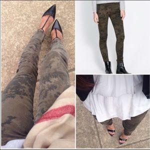 Zara Camouflage Skinny Jeans Z1975 Green Size 8